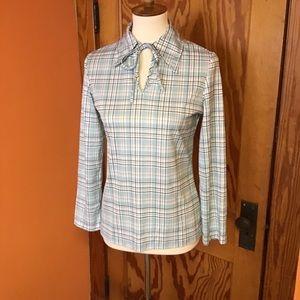 Vintage Tops - Vintage 70s turquoise n brown plaid polyester top